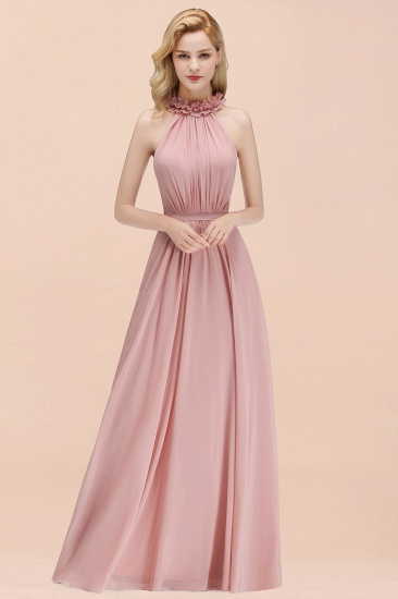 Modest High-Neck Halter Ruffle Chiffon Bridesmaid Dresses Affordable_51