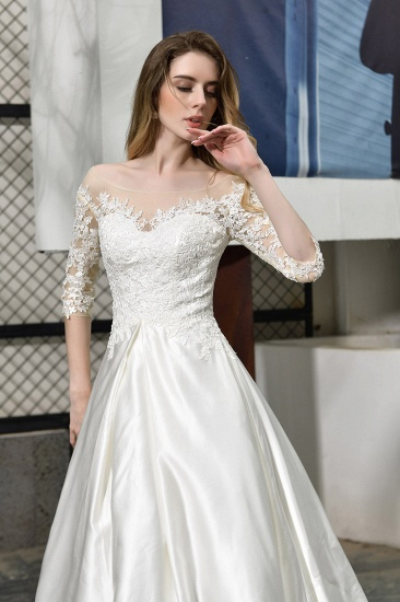 BMbridal Elegant A-Line Satin Lace 3/4 Sleeves Ankle Length Wedding Dress_10