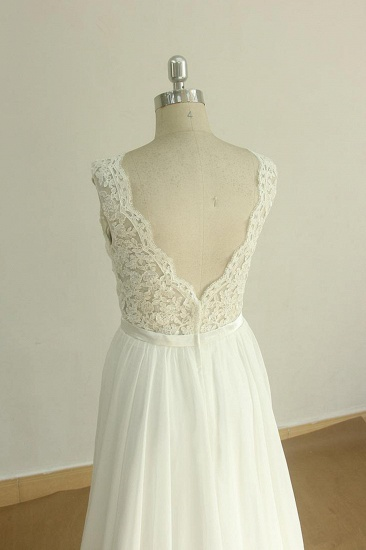Elegant V-neck Sleeveless Lace Wedding Dresses White A-line Chiffon Bridal Gown On Sale_5