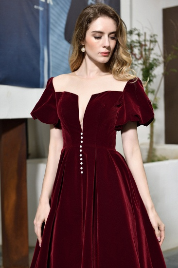 Vintage Bugrundy Short Sleeve Prom Dress Tea-Length Party Gowns With Lace-up_10
