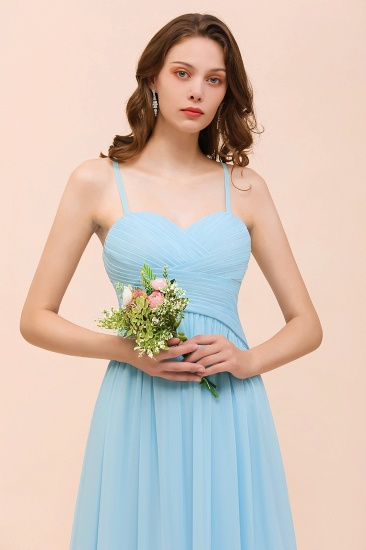 Chic Spaghetti Straps Ruffle Sky Blue Chiffon Bridesmaid Dress Online_9