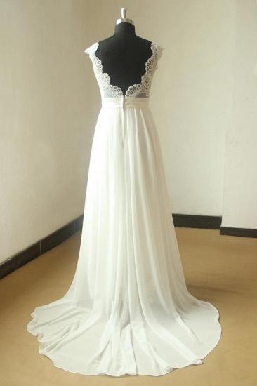 Glamorous White Straps Appliques Wedding Dress Sleeveless V-neck Chiffon Bridal Gowns On Sale_3