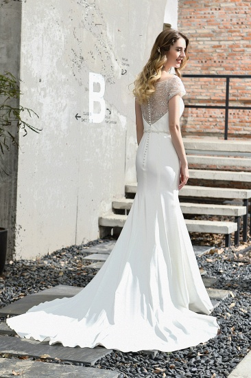 Mermaid Satin Lace Off the Shoulder Affordable Ivory Wedding Dress_3