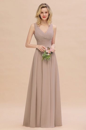 Elegant V-Neck Dusty Rose Chiffon Bridesmaid Dress with Ruffle_16