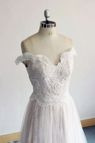 BMbridal Gorgeous Off-the-shoulder Sweetheart Appliques Wedding Dresses A-line Lace Ruffles Bridal Gowns On Sale_4