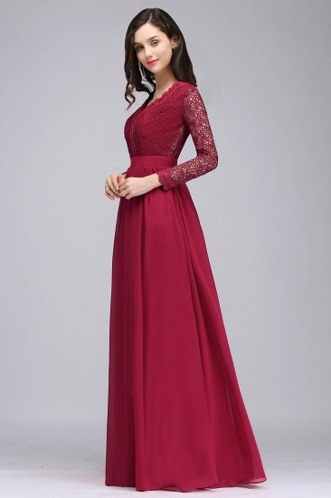 BMbridal Elegant A-line Chiffon Lace Long Sleeves Evening Dress_6