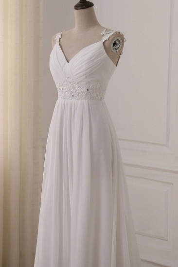 BMbridal Stylish Straps V-neck Chiffon Wedding Dress A-line White Appliques Bridal Gowns On Sale_6