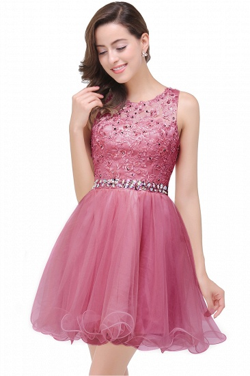 BMbridal A-line Knee-length Tulle Prom Dress with Appliques_2