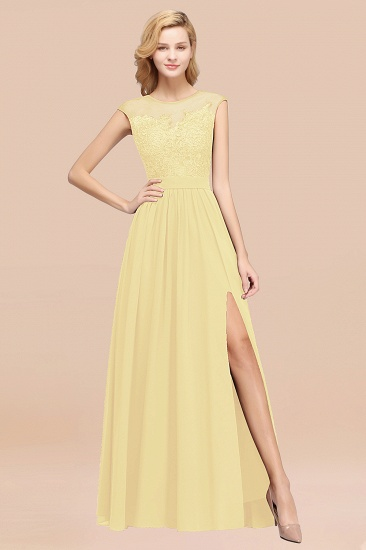Cheap Scoop Lace Appliques Yellow Bridesmaid Dresses with Slit_18