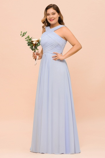 Plus Size Affordable Lavender Chiffon Bridesmaid Dresses with Ruffle_4