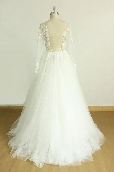 BMbridal Chic Jewel Longsleeves Tulle Wedding Dress Appliques Lace A-line Bridal Gowns On Sale_3