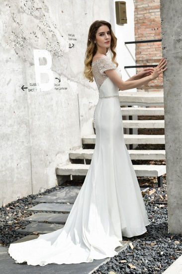 Mermaid Satin Lace Off the Shoulder Affordable Ivory Wedding Dress_8