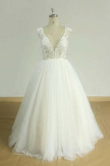 BMbridal Chic V-neck Straps Tulle Wedding Dresses A-line Appliques Sleeveless Bridal Gowns On Sale_1