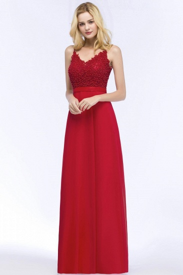 BMbridal Spaghetti Straps V-Neck Chiffon Lace Evening Dress_4