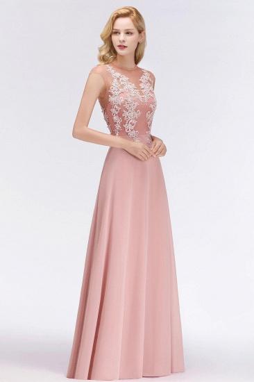 BMbridal A-line Jewel Sleeveless Chiffon Tulle Lace Bridesmaid Dress_5