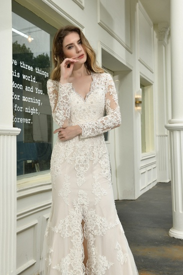 Exquisite Sheath V-Neck Long Sleeves Wedding Dress With Slit_11