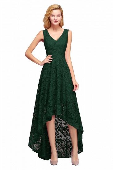 BMbridal A-line Hi-lo V-neck Sleeveless Burgundy Lace Dress_5