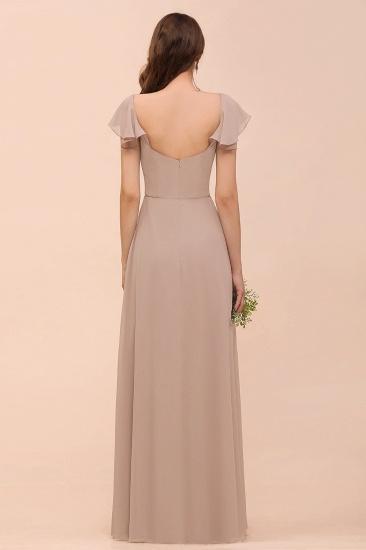Elegant Chiffon Slit Affordable Bridesmaid Dresses with  Short Sleeves_2