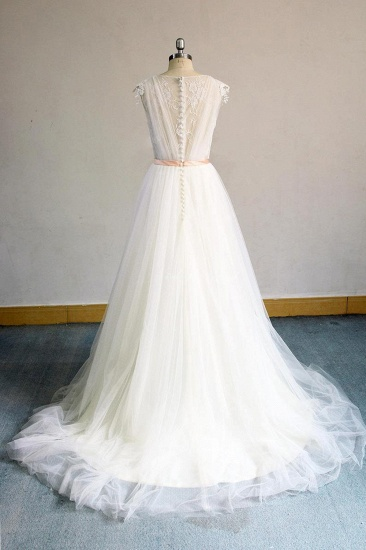 BMbridal Gorgeous V-neck Sleeveless A-line Wedding Dresses Champgne Tulle Bridal Gowns With Appliques On Sale_3