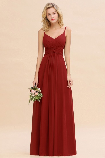 Modest Ruffle Spaghetti Straps Backless Burgundy Bridesmaid Dresses Cheap_48