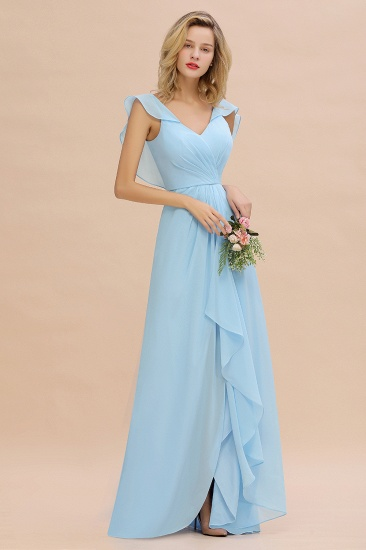 Modest Hi-Lo V-Neck Ruffle Long Bridesmaid Dress with Slit_56