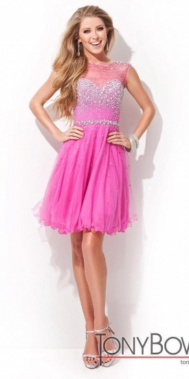BMbridal Open Back Sleeveless Chiffon Homecoming Dress Crystal Beads Tulle Short Prom Dress_3