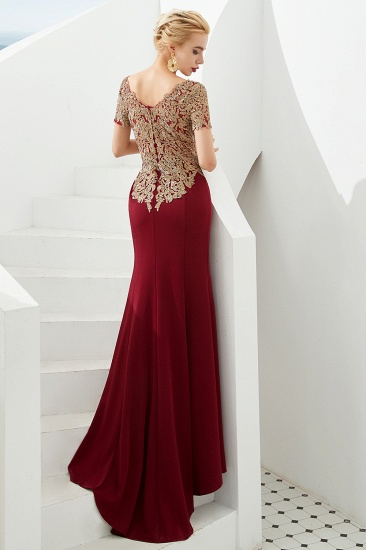 BMbridal Burgundy Short Sleeves Mermaid Prom Dress Long With Gold Appliques_3
