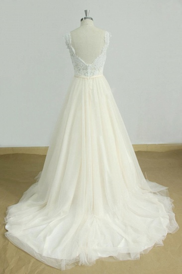 BMbridal Elegant Lace Straps V-neck Appliques Wedding Dress Tulle Ruffles A-line Bridal Gowns On Sale_3