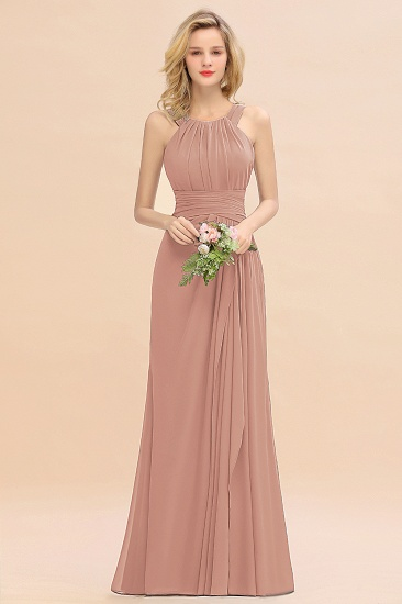 Elegant Round Neck Sleeveless Stormy Bridesmaid Dress with Ruffles_6