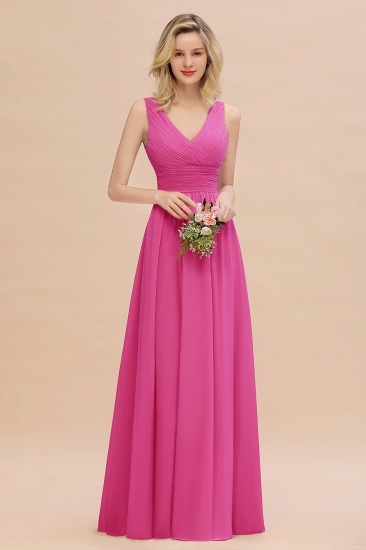 BMbridal Elegant V-Neck Dusty Rose Chiffon Bridesmaid Dress with Ruffle_9