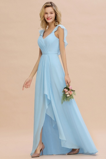 BMbridal Modest Hi-Lo V-Neck Ruffle Long Bridesmaid Dress with Slit_55