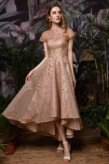 Glamorous Rose Gold Sequins Prom Dress Short Sleeve Evening Gowns Online_6