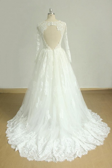 Gorgeous Longsleeves White Appliques Wedding Dress Tulle Lace Jewel Bridal Gown On Sale_3
