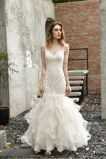 BMbridal Gorgeous Mermaid Tulle Appliques Ivory Wedding Dress_1