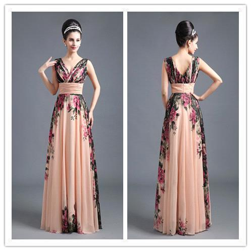 BMbridal A-Line Chiffon Printed Ruffles Evening Dress_6