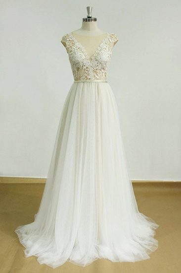 BMbridal Elegant Jewel Tulle Lace Wedding Dress Sleeveless Appliques Bridal Gowns On Sale_1