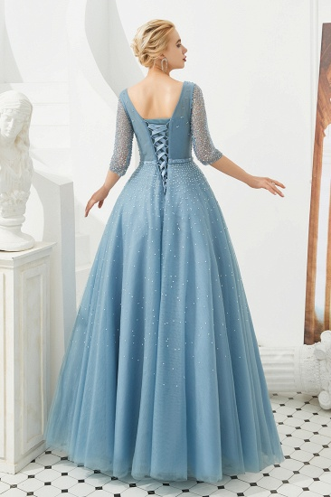 Dusty Blue V-Neck Half-Sleeve Prom Dress Long With Beadings Lace-up_3