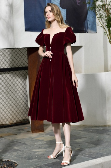 BMbridal Vintage Bugrundy Short Sleeve Prom Dress Tea-Length Party Gowns With Lace-up_11