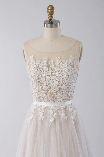 Affordable Sleeveless Jewel Appliques Wedding Dress Tulle Ruffles A-line Bridal Gowns On Sale_4