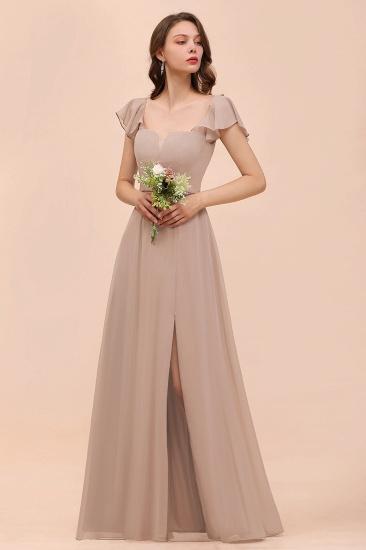 Elegant Chiffon Slit Affordable Bridesmaid Dresses with  Short Sleeves_5