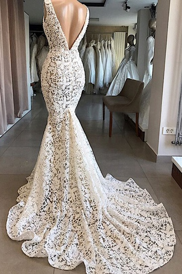 BMbridal Unique White Mermaid Lace Wedding Dresses Straps Sleeveless Bridal Gowns With Appliques Online_4