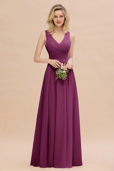 Elegant V-Neck Dusty Rose Chiffon Bridesmaid Dress with Ruffle_42