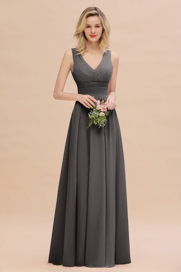 BMbridal Elegant V-Neck Dusty Rose Chiffon Bridesmaid Dress with Ruffle_46