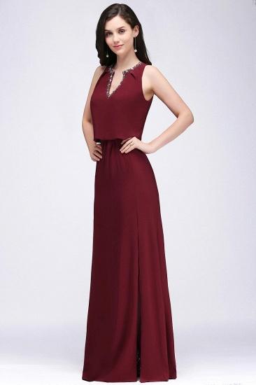 BMbridal Front-split Crystal Floor-length V-neck Sleeveless Burgundy A-line Evening Dress_4