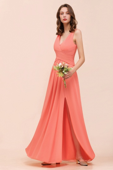 Glamorous V-Neck Ruffle Chiffon Long Bridesmaid Dress With Slit_6