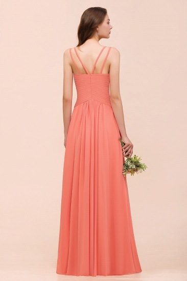 Glamorous V-Neck Ruffle Chiffon Long Bridesmaid Dress With Slit_3
