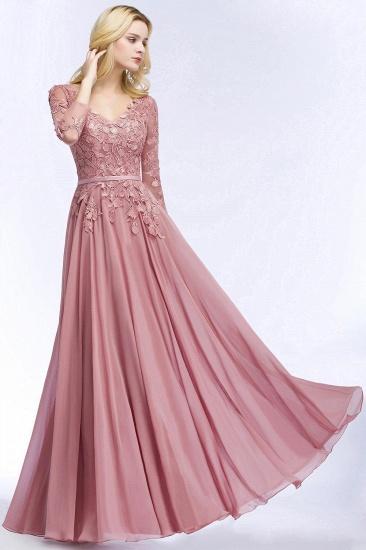 BMbridal Elegant Chiffon Lace Dusty Rose Evening Dress_1