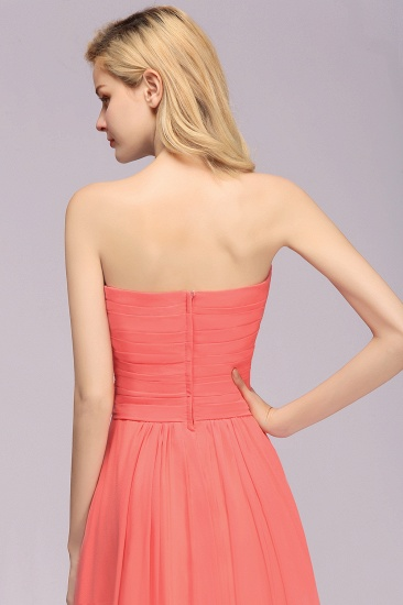 Affordable Sweetheart Strapless Chiffon Bridesmaid Dress with Flower_9