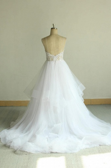 Sexy Spaghetti Straps Tulle White Wedding Dress Sleeveless A-line Bridal Gowns On Sale_3