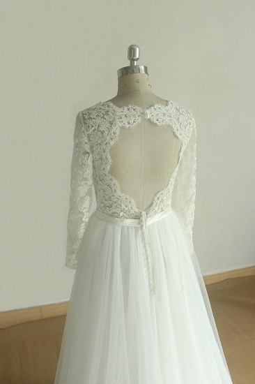Elegant A-line Lace Tulle Wedding Dress Long Sleeves Appliques Bridal Gowns Online_5